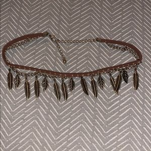 Feather choker necklace